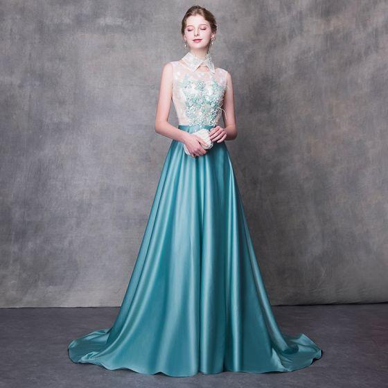 11291d295 Moda Jade Verde Vestidos de noche 2018 A-Line   Princess Desacoplable  Cuello Alto Sin Mangas Apliques Flor Perla Pluma Colas De Barrido ...
