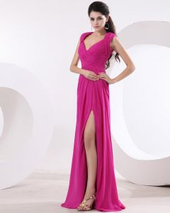 Chiffon Ruffle V Neck Floor Length Prom Dress