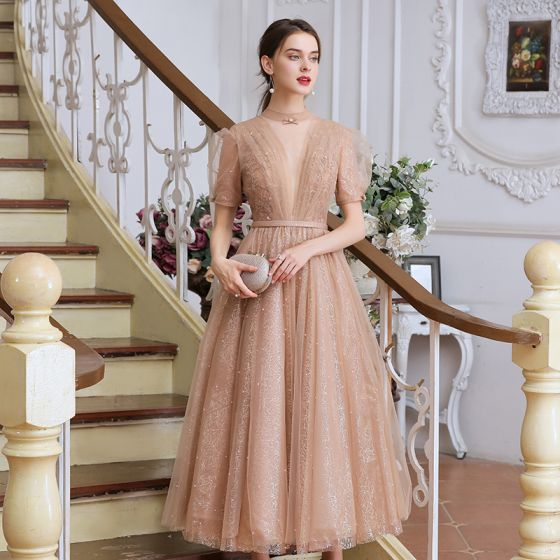 Victorian Style Champagne Dancing Prom Dresses 2020 A-Line / Princess See-through High Neck Puffy Short Sleeve Beading Pearl Sash Tea-length Ruffle Backless