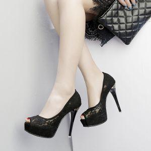 Chic / Belle Noire Chaussure De Mariée 2018 En Dentelle 12 cm Talons Aiguilles Plateforme Peep Toes / Bout Ouvert Mariage Talons Hauts