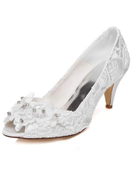 49b890e7ab94bc Belles Chaussures De Mariage En Dentelle Stiletto Talons Escarpin Blanc  Brodé Satin Chaussures De Mariée Peep Toe