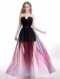 Sexy Cocktail Partykleider 2016 Trägerlos Gradienten Farbe Chiffon Transparenten Kleid
