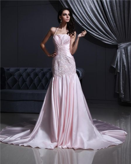 Satin Beading Embroidery Halter Court Mermaid Bridal Gown Wedding Dress