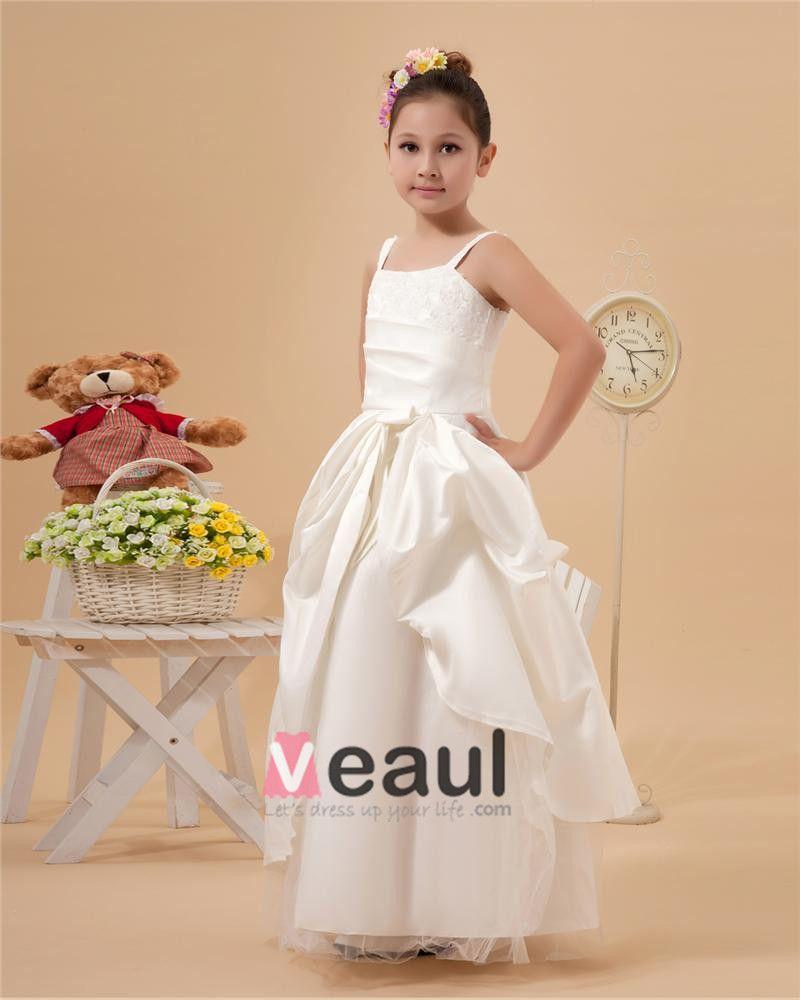 Cute A-Line Spaghetti Straps Ankle Length Satin Flower Girl Dresses