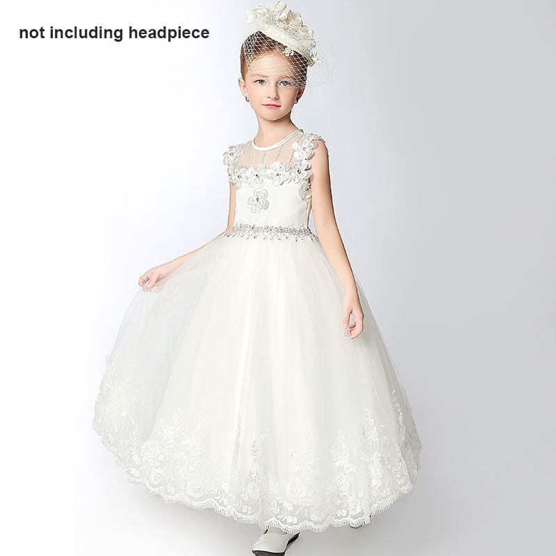 Chic / Beautiful Church Wedding Party Dresses 2017 Flower Girl Dresses White Ankle Length A-Line / Princess Scoop Neck Backless Sleeveless Flower Appliques Pearl Lace Rhinestone Sash