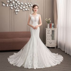 Classy Ivory See-through Wedding Dresses 2019 Trumpet / Mermaid Scoop Neck Sleeveless Appliques Lace Beading Pearl Court Train Ruffle