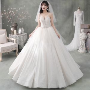 Best Ivory Outdoor / Garden Wedding Dresses 2020 Ball Gown Spaghetti Straps Sleeveless Backless Appliques Flower Beading Glitter Tulle Floor-Length / Long Ruffle