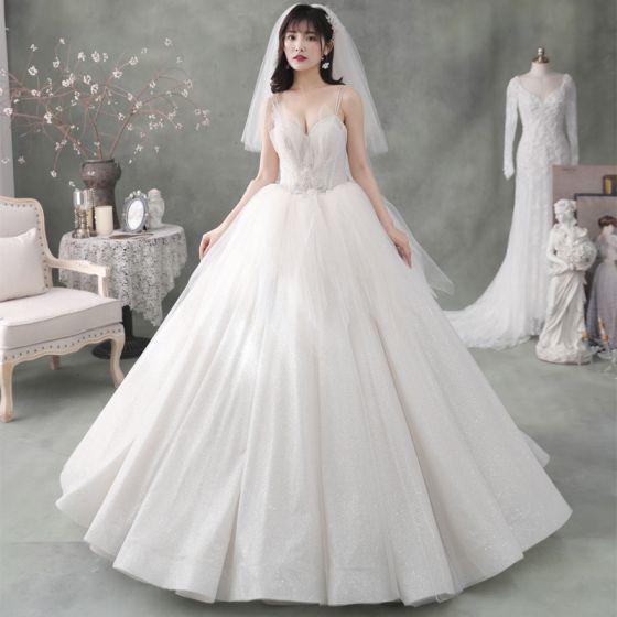 Best Ivory Outdoor / Garden Wedding Dresses 2020 Ball Gown Spaghetti Straps Sleeveless Backless Appliques Flower Beading Glitter Tulle Floor-Length / Long Ruffle
