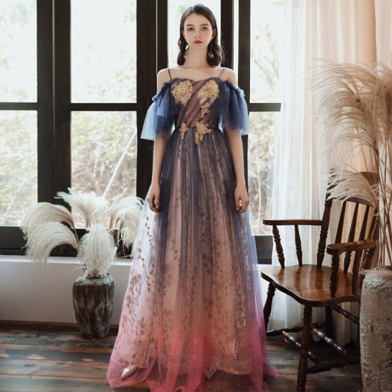 Chic / Beautiful Navy Blue Gradient-Color Candy Pink Evening Dresses  2020 A-Line / Princess Spaghetti Straps 1/2 Sleeves Appliques Beading Sequins Glitter Tulle Floor-Length / Long Ruffle Backless Formal Dresses