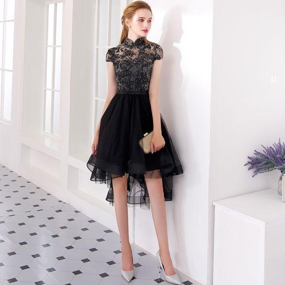 Uroczy Czarne Asymetryczny Sukienki Koktajlowe 2019 Princessa Wysokiej Szyi Z Koronki Kwiat Rhinestone Kokarda Rękawy z Kapturkiem Sukienki Wizytowe