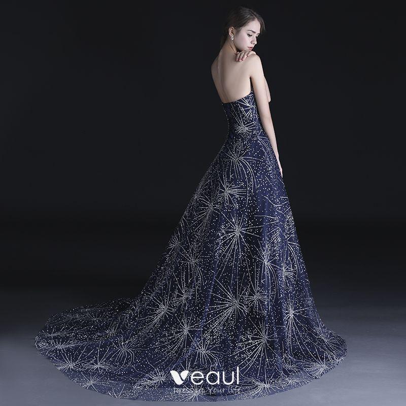 Bling Bling Navy Blue Prom Dresses 2018 A-Line / Princess Sweetheart Sleeveless Beading Rhinestone Chapel Train Ruffle Backless Formal Dresses