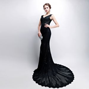 Trumpet / Mermaid Black Evening Dresses  2018 V-Neck Backless Pierced Polyester Evening Party Formal Dresses