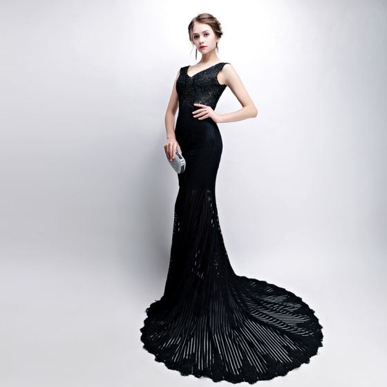 Trumpet Mermaid Black Evening Dresses 2018 V Neck Backless Pierced