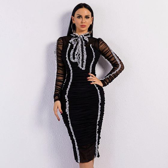 Moda Negro De Encaje Verano Vestidos largos 2020 Cuello Alto Manga Larga Por La Rodilla Ropa de mujer