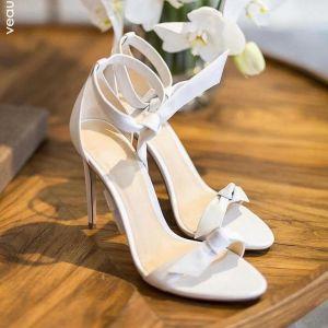 Sexet Ivory Fest Sandaler Dame 2020 Læder Ankel Strop Sløjfe 10 cm Stiletter Peep Toe Sandaler