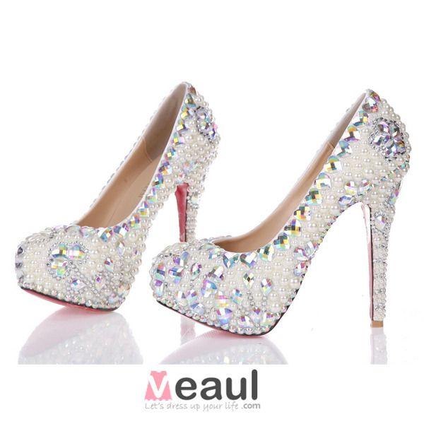 Luxury Elegant White Pearl Crystal Rhinestone Platform Pumps Wedding Shoes