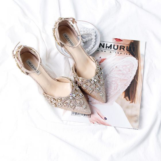 Glitter Goud Rhinestone Bruidsschoenen 2020 Leer Glans Pailletten Enkelband 9 cm Naaldhakken / Stiletto Spitse Neus Huwelijk Hakken