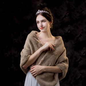 Mode Brun sjal 2020 Mocka Polyester Axlar Bröllop Afton Bal Vinter Sjalar Tillbehör
