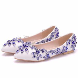 Chic / Belle Blanche Chaussure De Mariée 2018 Faux Diamant À Bout Pointu Plate Mariage