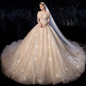 Sparkly Champagne Wedding Dresses 2019 Ball Gown Off-The-Shoulder Short Sleeve Backless Glitter Tulle Beading Cathedral Train Ruffle