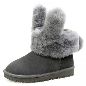 Amazing / Unique Womens Boots 2017 Grey Leather Ankle Suede Casual Winter Flat Snow Boots