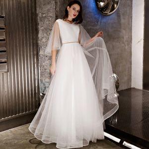 Modern / Fashion Ivory Evening Dresses  2019 A-Line / Princess Rhinestone Sash Glitter V-Neck Backless 1/2 Sleeves Floor-Length / Long Formal Dresses