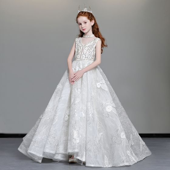Luxury / Gorgeous Ivory Flower Girl Dresses 2019 A-Line / Princess V-Neck Sleeveless Appliques Lace Beading Glitter Sequins Sweep Train Ruffle Backless Wedding Party Dresses