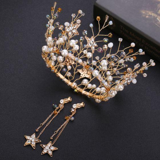 Luxury / Gorgeous Gold Bridal Hair Accessories 2020 Alloy Pearl Crystal Tiara Tassel Earrings Wedding Accessories
