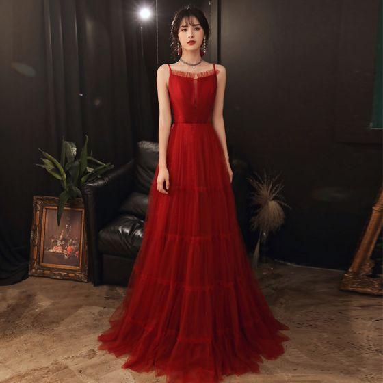 Enkel Rød Forlovelses Gallakjoler 2020 Prinsesse Spaghetti Straps Ærmeløs Lange Flæse Halterneck Kjoler