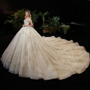 Elegant Champagne Bridal Wedding Dresses 2020 Ball Gown Off-The-Shoulder Short Sleeve Backless Sequins Beading Cathedral Train Ruffle