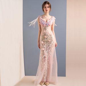 Sexy Rougissant Rose Longue Robe De Soirée 2018 Trompette / Sirène Tulle V-Cou Appliques Dos Nu Perlage Soirée Robe De Ceremonie
