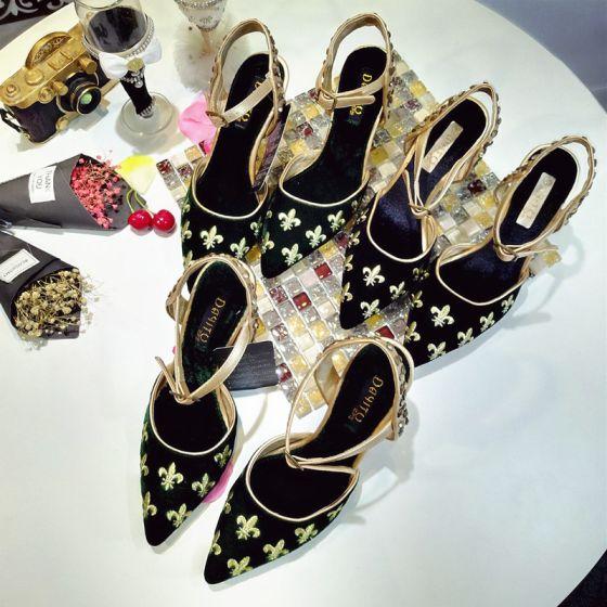 Vintage Blekk Blå Gateklær Suede Sandaler Dame 2020 Brodert 9 cm Stiletthæler Spisse Sandaler