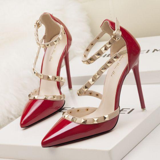 Uroczy Czerwone Wieczorowe Sandały Damskie 2020 Nit Z Paskiem 10 cm Szpilki Szpiczaste Sandały