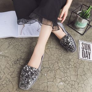 Chic / Beautiful Grey Womens Shoes 2018 Rhinestone Sequins Suede Square Toe Flat