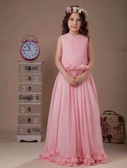 Mooie Roze Mouwloze V-hals Chiffon Bloemen Meisjes Jurken