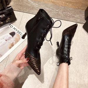 Mode Svarta Gatukläder Stövlar Dam 2020 7 cm Stilettklackar Spetsiga Stövlar