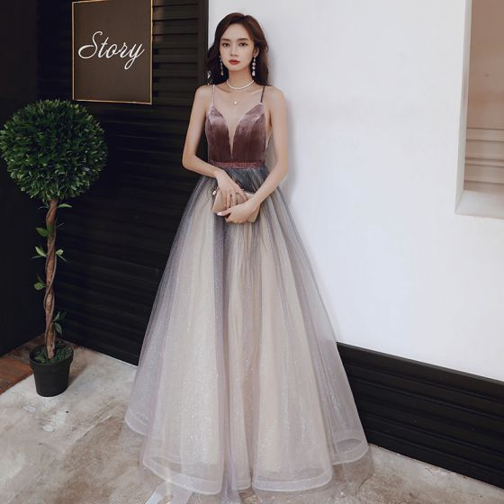 Sexy Brown Gradient-Color Evening Dresses  2020 A-Line / Princess See-through Deep V-Neck Sleeveless Spaghetti Straps Glitter Tulle Sash Floor-Length / Long Ruffle Backless Formal Dresses