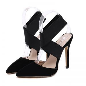 Affordable Black Evening Party Womens Sandals 2020 X-Strap 12 cm Stiletto Heels Pointed Toe Sandals