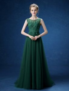 Empire Scoop Neckline Applique Lace Backless Dark Green Long Evening Dress