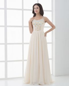 Chiffon Beading Spaghetti Straps Sweep Floor Fength Prom Dresses