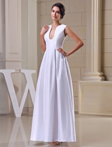 Unique A-line Shoulders U-neck White Satin Long Evening Dress