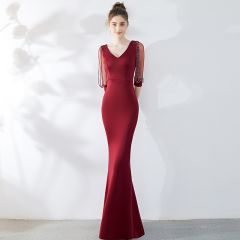 Chic / Beautiful Solid Color Burgundy Evening Dresses  2019 Trumpet / Mermaid V-Neck Beading Tassel 3/4 Sleeve Floor-Length / Long Formal Dresses