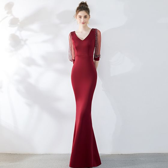 Chic / Beautiful Solid Color Burgundy Evening Dresses  2019 Trumpet / Mermaid V-Neck Beading Tassel 3/4 Sleeve Floor-Length / Long Formal Dresses