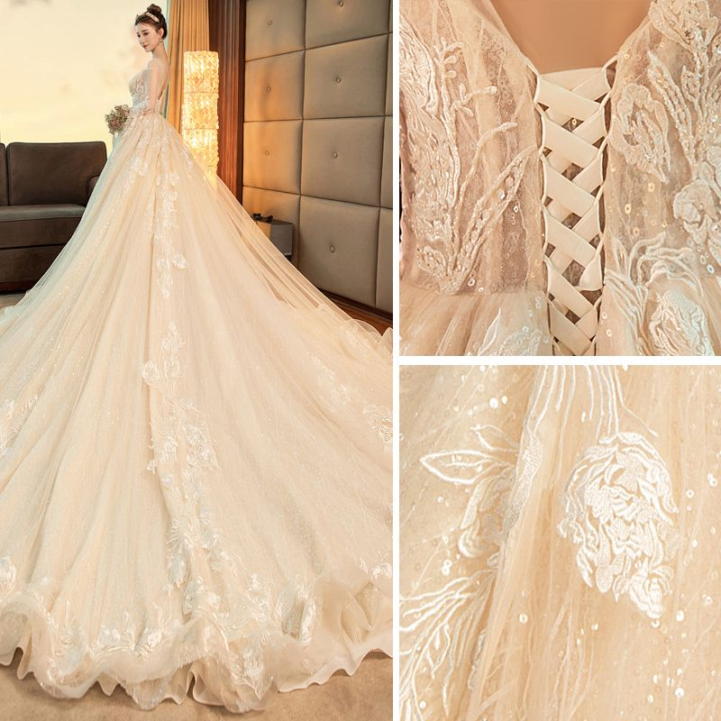 Chic / Beautiful Champagne Wedding Dresses 2019 A-Line / Princess Scoop Neck Lace Flower Sequins Long Sleeve Backless Royal Train