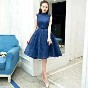 Knee length blue evening dresses