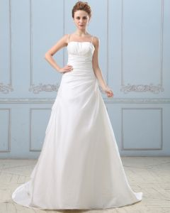 Taffeta Pleated Court Empire Bridal Gown Wedding Dresses