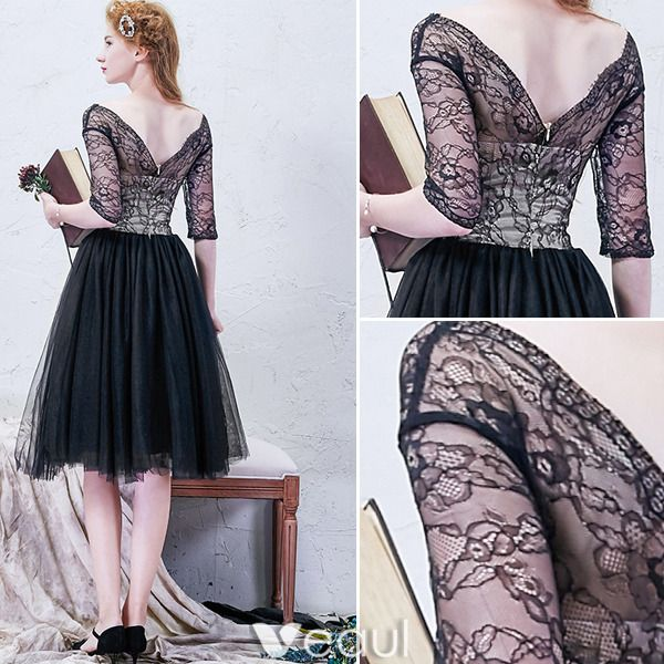 Beautiful Little Black Graduation Dresses 2016 A-line V-neck Ruffled Tulle With Lace Sleeves Knee Length Dress