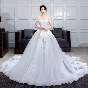 Romantic White Summer Wedding Dresses 2019 Ball Gown Off-The-Shoulder Short Sleeve Backless Appliques Lace Flower Pearl Rhinestone Chapel Train Ruffle