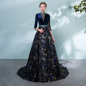 Chic / Beautiful Royal Blue Pierced Evening Dresses  2018 A-Line / Princess High Neck 3/4 Sleeve Printing Flower Crystal Sash Chapel Train Formal Dresses