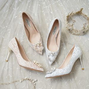 Mode Silber Brautschuhe 2020 Spitze Perle Strass 8 cm Stilettos Spitzschuh Hochzeit Pumps